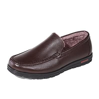 ailishabroy Mocasines de Invierno Cálido Hombres Resbalón de Cuero Negro en Zapatos Hombre