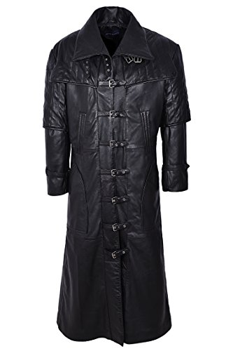 Mens Duster Jackets (Smart Range Men's Captain Full Length Van Helsing Duster Nappa Leather Jacket Coat Medium Black)