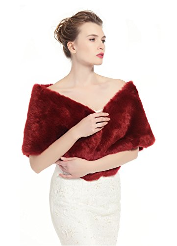BEAUTELICATE luxury Bridal Party Evening/Wedding Faux Fur Shawl Wrap Stole-S51(Wine Red), 63