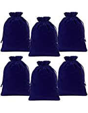 """Lucky Monet 25/50/100PCS Velvet Drawstring Bags Jewelry Pouches for Christmas Birthday Party Wedding Favors Gift Candy Headphones Art and DIY Craft (25Pcs, Royal Blue, 5"""" x 7"""")"""