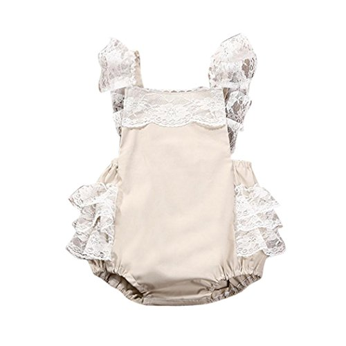 Price comparison product image AMA(TM) Newborn Toddler Infant Baby Girls Sleeveless Lace Romper Jumpsuit Playsuit Cake Sunsuit Outfits (18/24M, Beige)