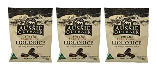 Aussie Outback Bite Size Traditional Black Liquorice Soft Eating Australian Licorice 4oz - Pack of 3 (Black Liquorice) ()