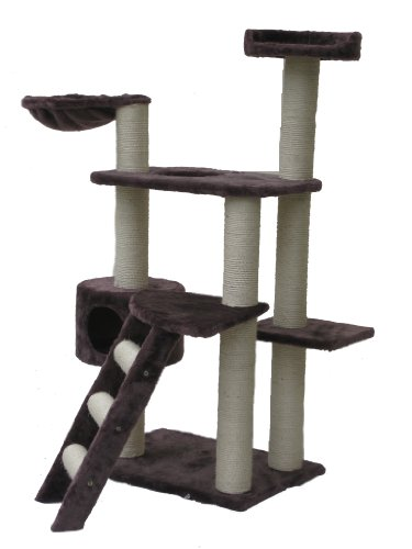 """New 24″ X 17″ X 50h"""" GoGo Cat Tree Condo house Pet Animal Scratching Post – Brown, My Pet Supplies"""