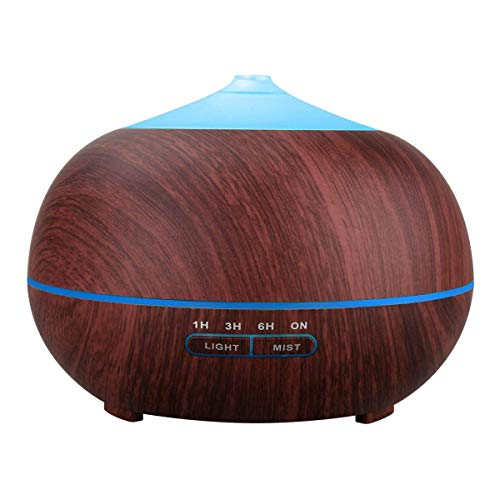 Tenswall 400ml Essential Oil Diffusers Ultrasonic Humidifier Portable Aromatherapy Diffuser with Cool Mist and 7 Colour Changing LED Lights Aroma Diffuser, Waterless Auto Off Air Purifiers-Brown
