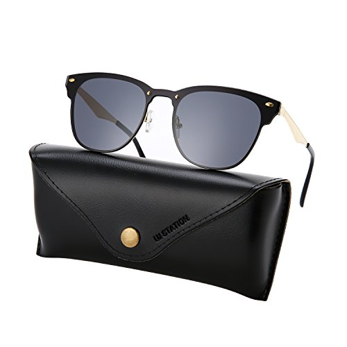 Wayfarer Sunglasses for Man, rimless sunglasses, flat mirrored sunglasses 3576 with sunglasses case - Flat Wayfarer Black