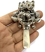 Victorian Style Two Teddy Bear Rattle with Glass Eyes Mother of pearl Handle
