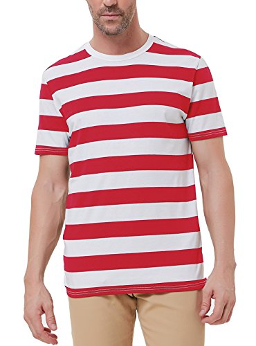 Red Striped T-Shirt for Men Short Sleeve Summer Shirt