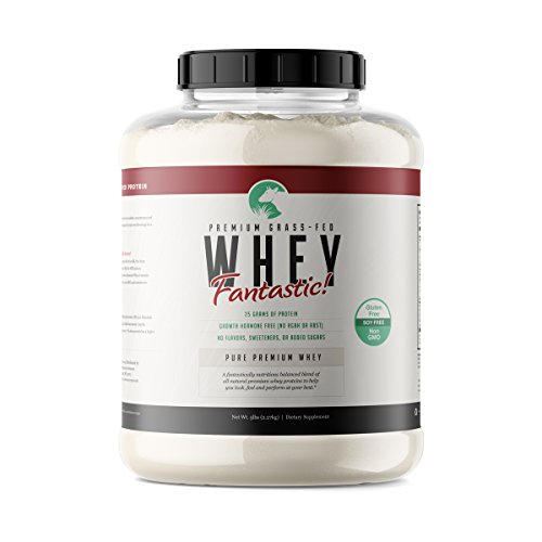 (Whey Fantastic 5LB 100% Pure Grass Fed Whey Protein - Unflavored Bulk - Optimum Blend of Undenatured Whey Isolate Concentrate & Hydrolysate for Best Results- Soy & Gluten Free - 75 Servings)