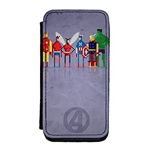 8Bit - Marvel Avengers Premium Faux PU Leather Case, Protective Hard Cover Flip Case for iPhone 5C by DevilleArt