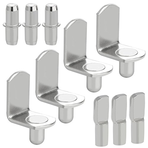 60pcs Shelf Bracket Pegs, Wobe Stainless Steel Shelf Pins Support Nickel Plated Shelf Peg Pin Supports for Cabinet Furniture Closet Shelf Bracket Wardrobe Office Accessories Display Stand