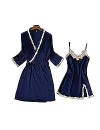 Chinashow Womens Satin Pajamas Set Sexy Ice Silk Suit Set Sleepwear/Nightwear Clothes, Navy Blue #A