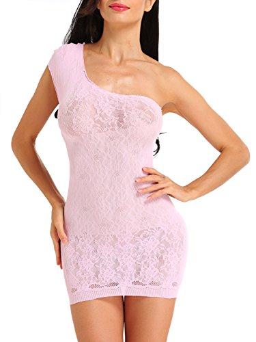 Amoretu Womens Single Shoulder Lingerie Floral Lace Chemise Mini Dress (Lace Mini Dress Chemise)