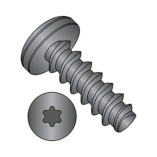 """Steel Thread Rolling Screw for Plastic, Black Oxide Finish, Pan Head, Star Drive, #10-14 Thread Size, 3/4"""" Length (Pack of 50)"""