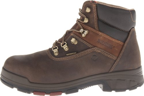 WOLVERINE WORLDWIDE - Cabor Waterproof Work Boots, Extra Wide, Brown Nubuck Leather, Men's Size 7