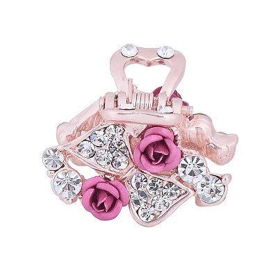 Fashion Enamel Flower Hair Claw Clip For Women Girls Metal Crystal Rhinestone Bowknot Hair Crab Clips Pink