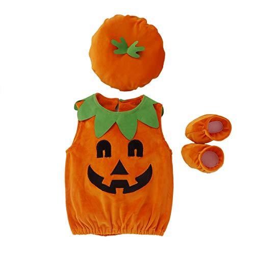 VISGOGO Baby Boy Girl Halloween Pumpkin Romper Bodysuit+Hat+Shoes 3PCS Outfit Costumes (0-6 Months) Orange