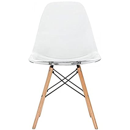 Superieur 2xhome Clear   Eames Style Side Chair Natural Wood Legs Eiffel Dining Room  Chair   Lounge