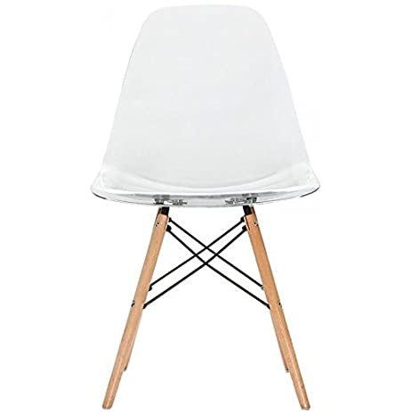 Lovely 2xhome   Clear   Eames Style Side Chair Natural Wood Legs Eiffel Dining  Room Chair