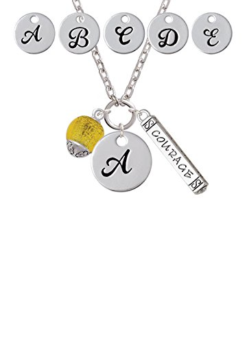 12mm Yellow Roller Spinner with Glass Spinner Custom Initial Courage Strength Zoe Necklace