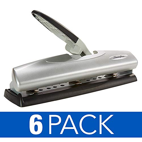 Swingline Desktop Hole Punch, Hole Puncher, LightTouch, Adjustable, 2-7 Holes, 20 Sheet Punch Capacity, Black/Silver, 6 Pack (74030CS)