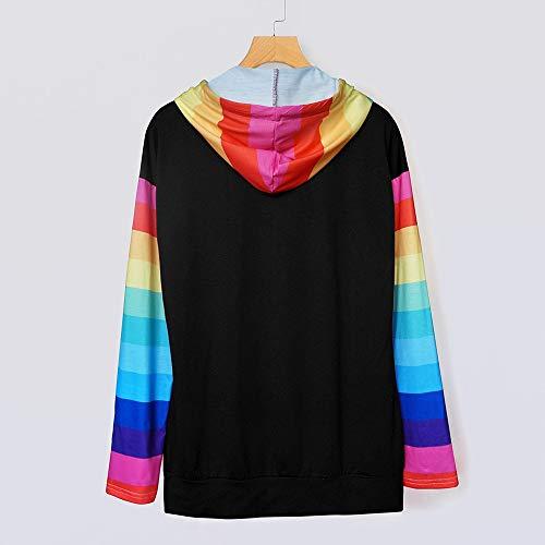 Sweatshirt Sweater Print Sport Frauen Hoodie Fashion Rainbow FeiBeauty Kordelzug Leichte Langarm Herbst Hot Schwarz 7SqCCw4