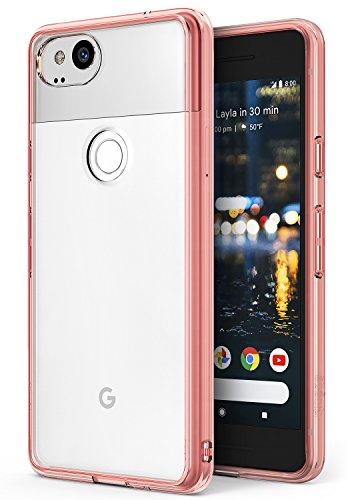 Ringke [Fusion] Compatible with Google Pixel 2 Case Crystal Clear Minimalist Transparent PC Back TPU Bumper [Drop Protection] Scratch Resistant Natural Shape Protective Cover Pixel 2 - Rose Gold