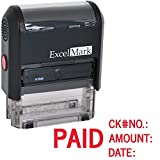 ExcelMark Self Inking Rubber Stamp - Paid, Check No., Amount, Date (A1848) by ExcelMark