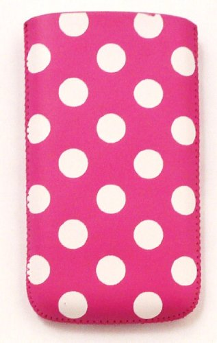Emartbuy® Apple Iphone 5 5s Polka Dots Rosa / Weiß Pu Leather Pouch / Case / Sleeve / Holder (Xxl) Mit Pull Tab Mechanismus Und Lcd Displayschutzfolie