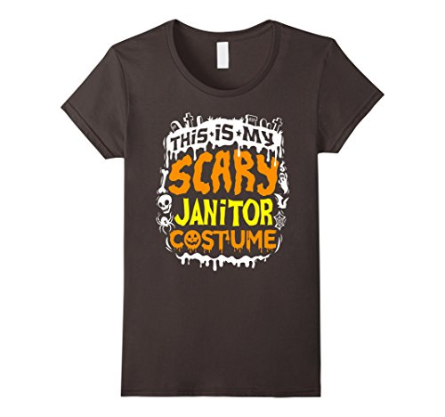 School Janitor Costume (Womens This Is My Scary Janitor Costume T-Shirt - Halloween Small Asphalt)