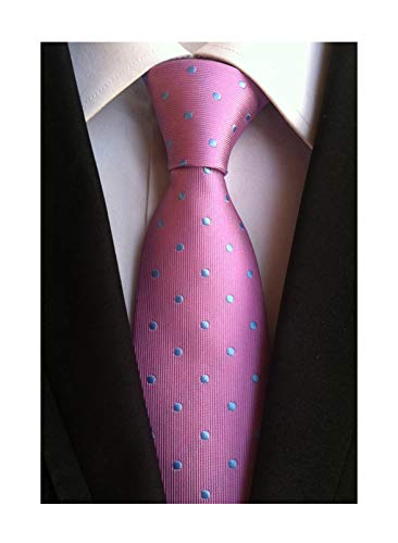 Mens Pink Silk Cravat Woven Elegant Neck Tie with Blue Polka Dot for Father Gift ()