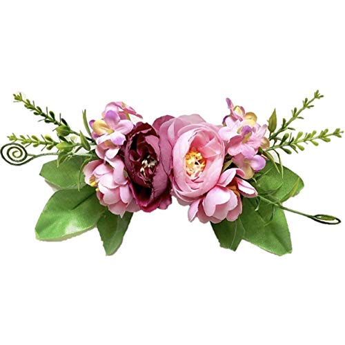 (Floral and Crystal Brooch Pins, Corsages, Ribbon Sash Belts and Hair Accessories for Toddlers and Girls. (Mauve Pin))