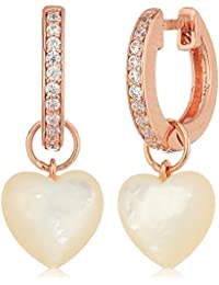 14k Rose Gold Plated Sterling Silver Cubic Zirconia Huggie Hoop Earrings with Genuine Mother of Pearl Heart Charms