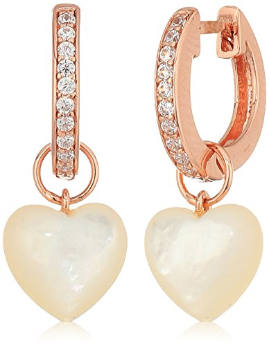 - 14k Rose Gold Plated Sterling Silver Cubic Zirconia Huggie Hoop Earrings with Genuine Mother of Pearl Heart Charms