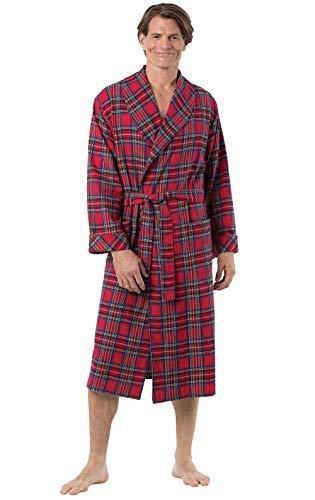 PajamaGram Bathrobe Yarn-Dyed Cotton - Mens Flannel Robe, Stewart Plaid, Red, - Robe Flannel Red