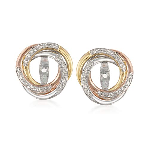 Ross-Simons 0.10 ct. t.w. Diamond Swirl Earring Jackets in Tri-Colored Sterling Silver