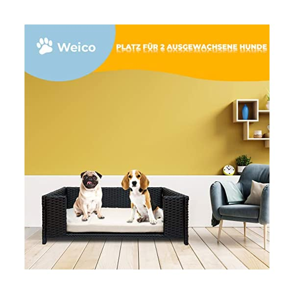 41l5nIJJc8L Cherioll weico Hundebett in Rattan-Optik 90 x 60 x 30 cm - gemütliches Hundebett mit waschbarem Kissen - stabiles…
