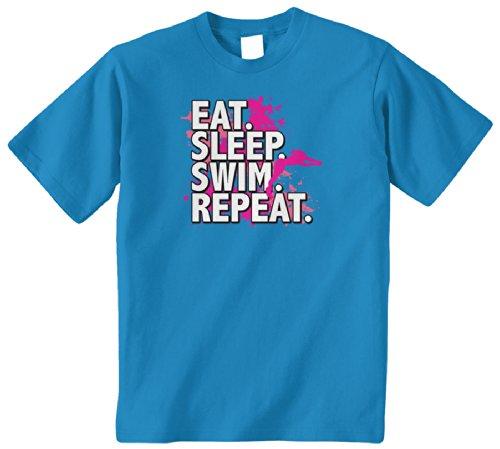 (Threadrock Big Girls' Eat Sleep Swim Repeat Youth T-Shirt XL Turquoise)