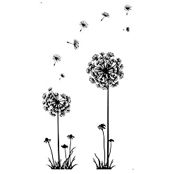 AckfulBlack Creative PVC Dandelion Flower Plant Tree Large Removable Home Wall Decal Sticker