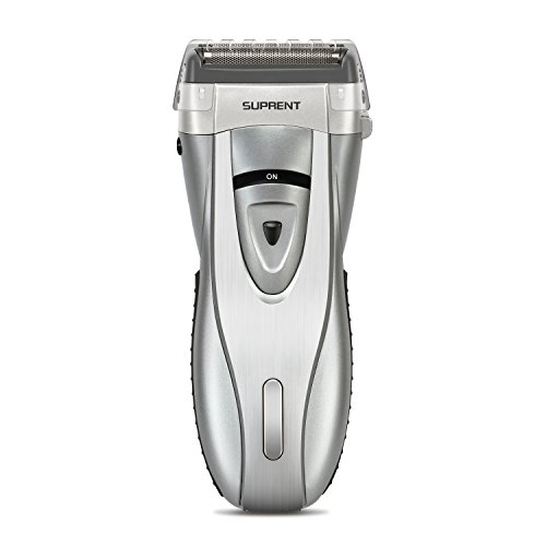SUPRENT 4-Blade Electric Foil Shaver, Men's Electric Razor with Lithium Ion Battery and Push-up Precision Trimmer, Safe Travel Lock (Silver)