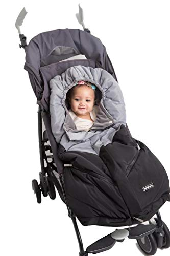 Alphabetz Universal Baby Stroller Sleeping Bag Footmuff, Black/Grey