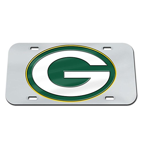 WinCraft Green Bay Packers Logo Silver Crystal Mirror License Plate
