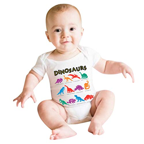 SiQing Summer Cute Infant Baby Girl Boy Dinosaur Romper Newborn Bodysuit Jumpsuit Straps Outfits (18-24 Months, White)