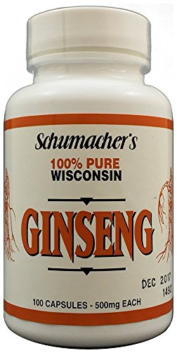 American Ginseng Capsules, 100% Pure Wisconsin Ginseng, 500mg, 100 Capsules – BEST Ginseng Supplement, Pure Potent Wisconsin Ginseng Roots by Schumacher Ginseng Review