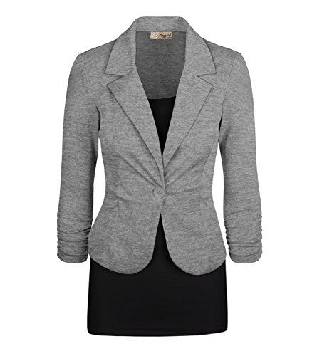 HyBrid & Company Women's Casual Work Office Blazer Jacket JK1131X Heather Grey 1X by HyBrid & Company (Image #1)