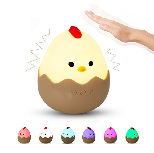Night Lights for Kids, Eggshell Chicken Tumbler Baby Nursery Lamp, Lullaby Playback Adjustable Brightness Pat Control, Chargeable 7 Colors RGB Beside light for Breastfeeding/Bedroom, Gift for ()