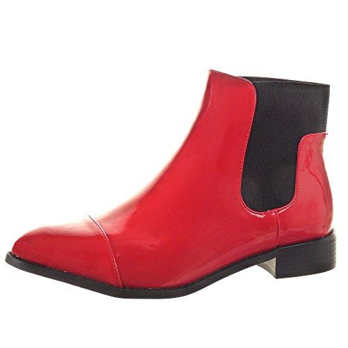 Sopily - Zapatillas de Moda Botines Chelsea Boots A medio muslo mujer brillantes Talón Tacón ancho 3 CM - Rojo