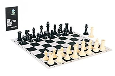 Quadruple Weight Tournament Chess Game Set - Chess Board Game with Staunton Ivory Chess Pieces, Black Silicone Chess Board and Chess Strategy Guide