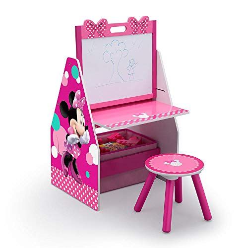 Delta Children Activity Center with Easel Desk, Stool and Toy Organizer, Disney Minnie Mouse