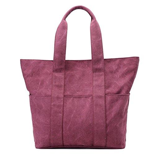 di Bags donne Tote grande le Lustear viola Borse capacità a per tracolla casual scuro pYRnqwR4d