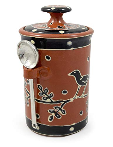 American Handmade Terra Cotta Pottery Kitchen Canister with Pewter Spoon, Blackbird -